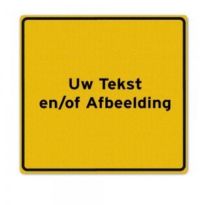 Geel tekstbord 120x120