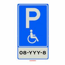Mindervaliden parkeerplaats met kenteken